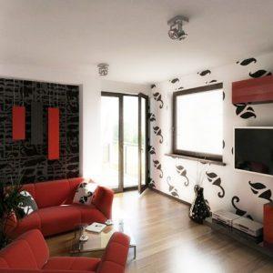 Desain Interior Ruang Tamu merah