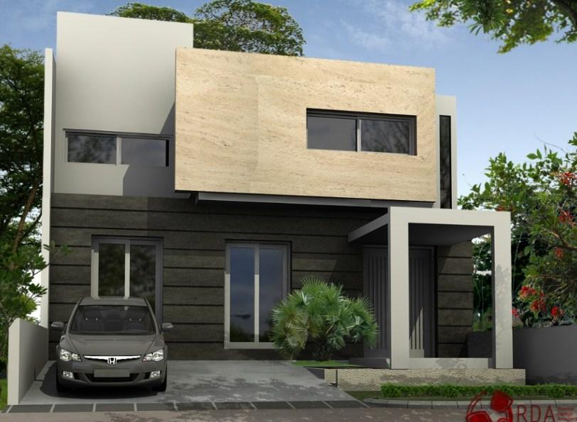 tampak depan rumah minimalis 2 lantai keren