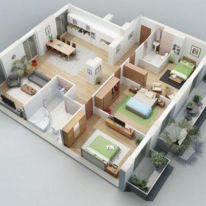 denah rumah minimalis type 45 3 kamar terbaru