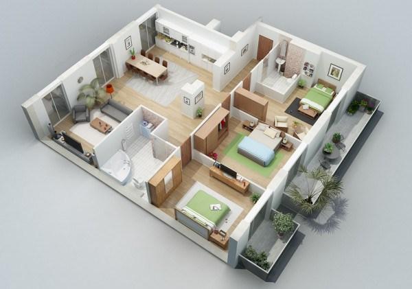 denah rumah minimalis type 45 3 kamar tidur 1 & denah rumah type 45 3 kamar tidur 2 - Desain Rumah Minimalis