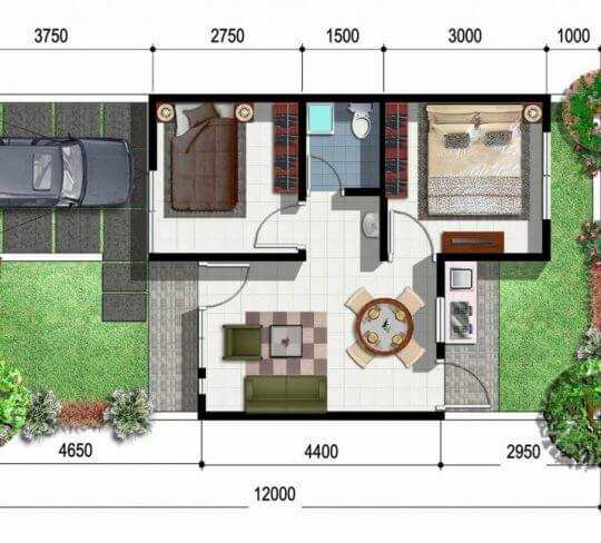 denah sketsa rumah minimalis 6