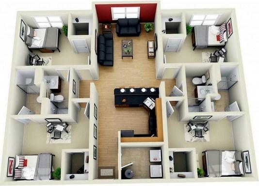 denah rumah 3 kamar 3d & denah rumah 3 kamar 3d 1 - Desain Rumah Minimalis