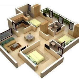 denah rumah 3 kamar 3d