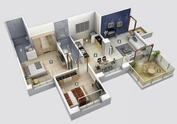 denah rumah 3 kamar 3d & denah rumah 3 kamar 3d 5 - Desain Rumah Minimalis