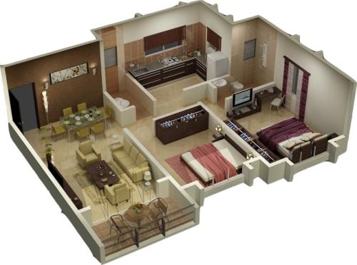 Denah Rumah 3 Kamar 3d 6 Desain Minimalis Gambar 2