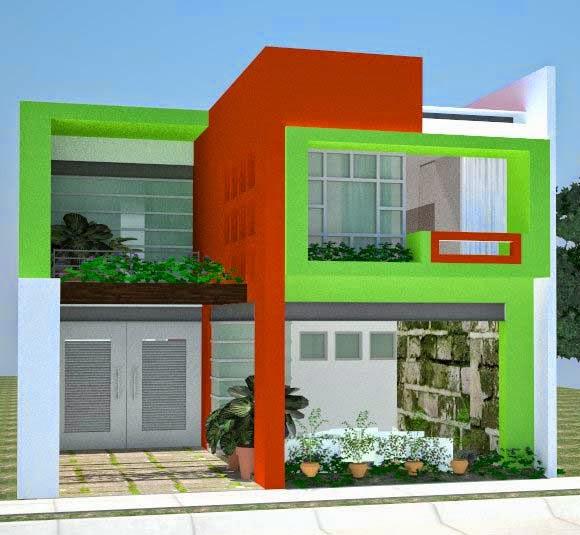 Contoh Warna Cat Rumah Minimalis Tampak Depan Hijau Desain Rumah