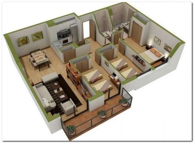 desain rumah minimalis 1 lantai 3 kamar tidur 4