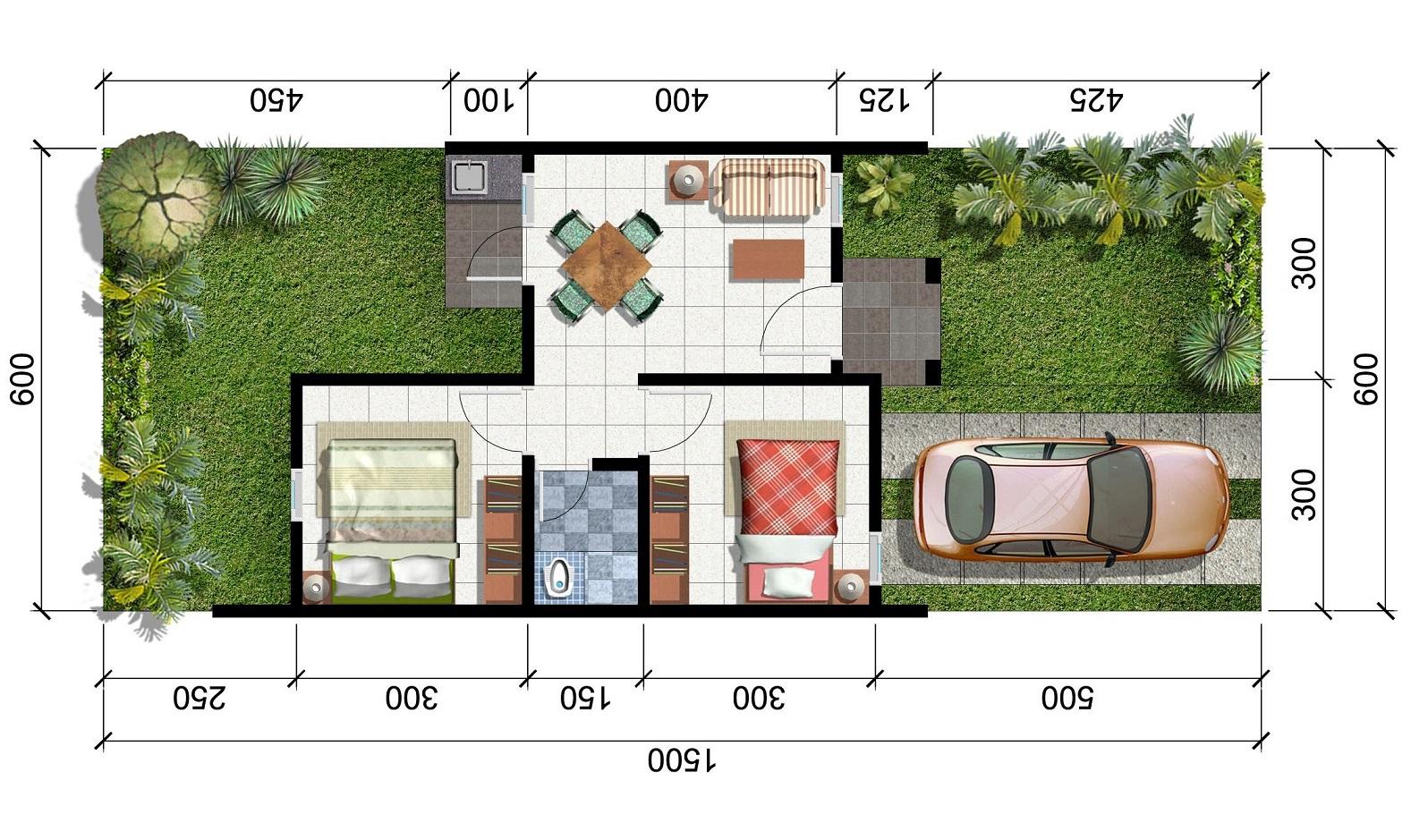 denah rumah 3 kamar ukuran 7x9 paling dicari keren