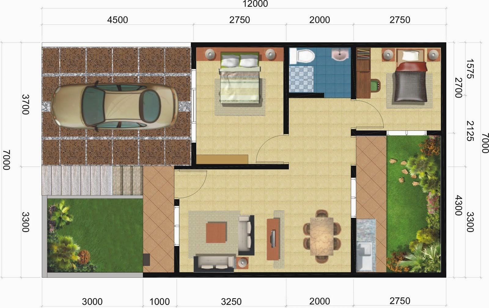 Denah Rumah 3 Kamar Ukuran 7x9 Paling Dicari Mewah Livedesaincom