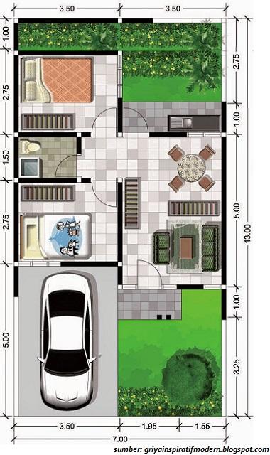 Desain Rumah Minimalis Lebar 5 Meter  gambar denah rumah minimalis ukuran 6x10 terbaru