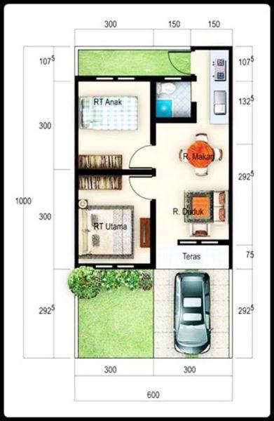 Desain Rumah Minimalis Ukuran 6x15 gambar denah rumah minimalis ukuran 6x10 terbaru kecil