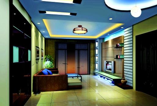 Model Plafon Ruang Tamu Sederhana Biru Desain Rumah Minimalis