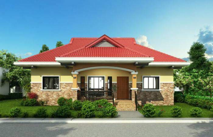 Contoh Denah Rumah Kampung  rumah idaman sederhana di desa keren warna kuning desain