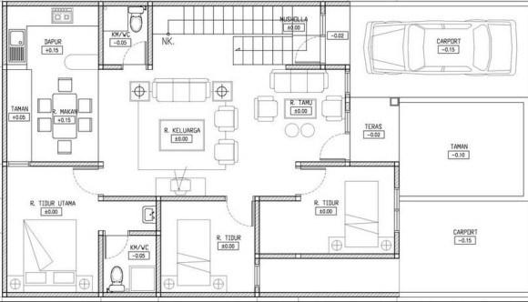Denah Rumah 3 Kamar Tidur 1 Mushola Desain Rumah Minimalis
