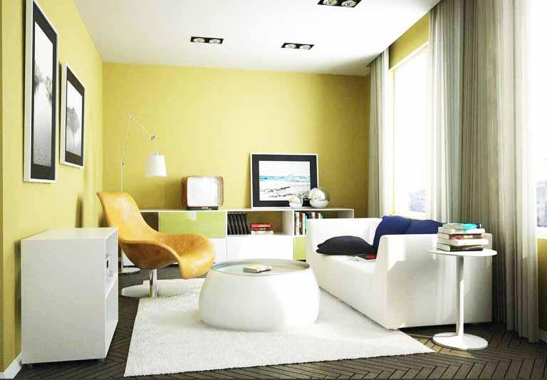 Kombinasi Warna Cat Rumah Kuning  perpaduan warna cat rumah bagian dalam kuning desain rumah