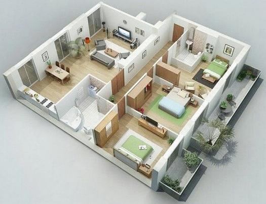 Denah Rumah Minimalis 3 Kamar Tidur 3D Sederhana