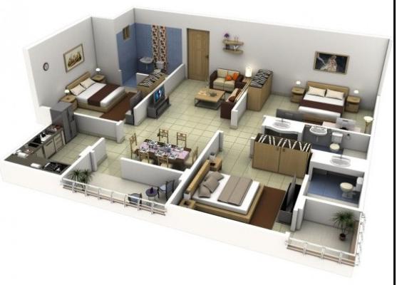 20 Gambar Denah Rumah Ukuran 8x10 3 Kamar Tidur 11 Desain Rumah Minimalis