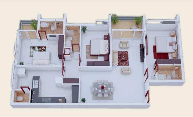 20 Gambar Denah Rumah Ukuran 8x10 3 Kamar Tidur 17 Desain Rumah Minimalis