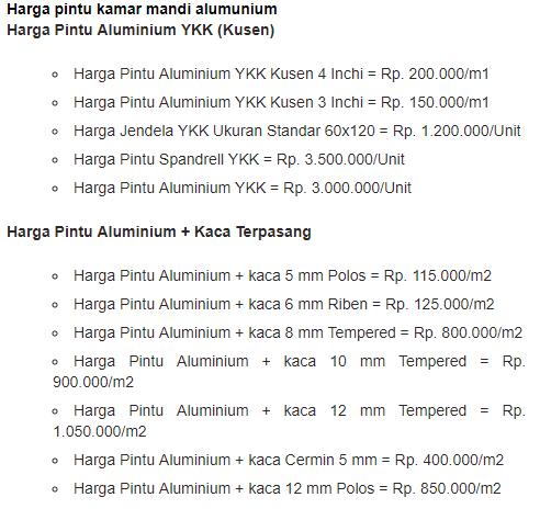 Harga Pintu Kamar Mandi Aluminium Terbaru Paling Hemat
